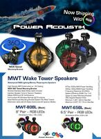 "Power Acoustik MWT-80BL 850 W Marine 8"" Wake Tower Speakers W RGB Lights Remote"
