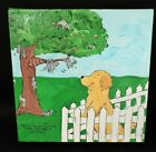 """whimsical GOLDEN RETRIEVER DOG original PAINTING """"Squirrel Watching"""""""