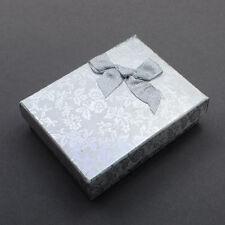 12pcs Cardboard Jewelry Set Boxes with Bowknot Sponge Silver Pendants 93x72x29mm