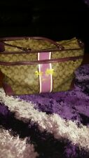 COACH HERTITAGE SIGNATURE TOTE BAG/DIAPER BAG KHAKI/BROWN & PURPLE GOOD USED