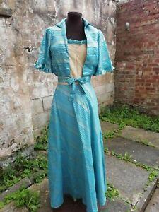 Vtg Original 70s Turquoise & Gold Lurex Maxi Dress & Jacket Suit. Size 6...