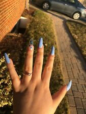 Crystal Wingz Instant Press-On Nails (BLUE QUICK NAILS WITH BUTTERFLIES)