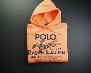 POLO RALPH LAUREN Men's Orange Riding Academy Graphic Fleece Hoodie sz M NEW NWT