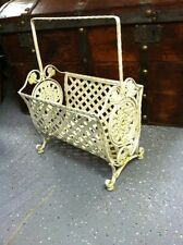 Rare Vintage Decorative Wrought Iron Handled Footed Magazine Rack-SHABBY CHIC!