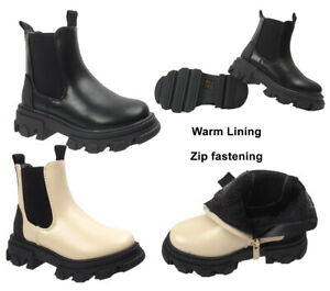 GIRLS ANKLE BOOTS WINTER SNOW CHILDREN KID CHELSEA FLEECE LINED ZIP SHOE SIZE