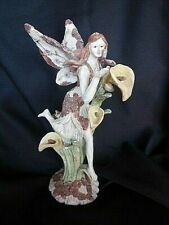 Figurine Fairy Touching Butterfly Calla Lilies Resin