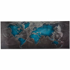 Metal World Map Modern Earth Decor Global Art Blue Planet Contemporary Artwork