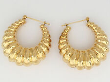 14K Yellow Gold Large Shrimp Style Hollow Earrings  8.1 Grams - Pre-Owned
