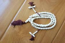 Tibetan Buddhist 108 Beads Mala White Yak Bone 8mm Prayer Tibet Rosary (19000140