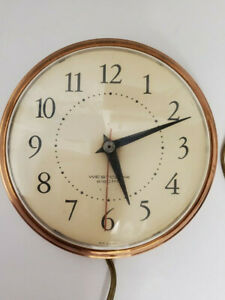"""Vintage Westclox Electric Wall Clock 1950's 7"""" Metal Copper Tone Frame Spice"""