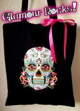 Sugar Skull Flowers Tote Bag Book Bag Rhinestone Crystal  bling