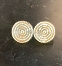 """Pair Vintage Early Plastic Apple Juice w/Silver Spiral Pattern Buttons 1/2"""""""
