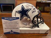 Jimmy Johnson Signed Dallas Cowboys White Matte Mini Helmet HOF 2020 Beckett #2