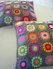 Handmade crochet cushion cover, crochet pillow, granny square, patchwork