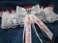 PERSONALISED FOOTBALL WEDDING GARTER RED & WHITE NOTTINGHAM FOREST MAN U COLOURS