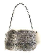 Faux Fur Womens Shoulder Handbag Silver Chain with Flap Top Turn Lock