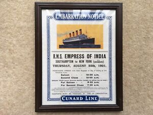 AUG 25th 1921 CUNARD R.M.S.EMPRESS OF INDIA EMBARKATION NOTICE