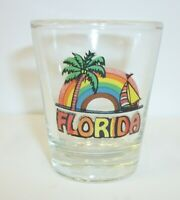 Vintage Florida Souvenir Shot Glass - Sail Boat Rainbow Palm Tree