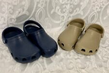 2 Pair Mammoth CROCS Navy Blue and Tan Taupe Size Mens 7 Womens 9 Nice Shape