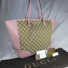 Authentic Rare Gucci Bree Brown GG Canvas Pink Leather Large Tote Handbag Ex Con