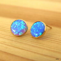 14K Solid Yellow Gold Round 8mm Blue Opal Stud Earrings - Summer Sale