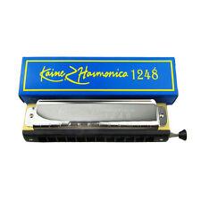 NEW One Kaine Chromatic Harmonica C Key Harmonica 12 Hole 48 Tone Silver Color