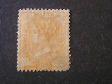 MALTA, SCOTT # 3, 1/2p. VALUE YELLOW BUFF 1875 QV WMK CROWN CC ISSUE USED