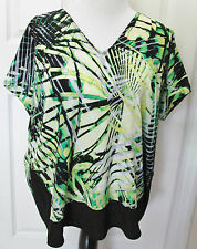 DANA BUCHMAN EXTRA LARGE WOMEN'S TOP BLOUSE GREEN BLACK  DOLMAN SLEEVES