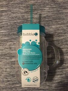 Bubble T Bath & Body Moroccan Mint Tea Jar Of Bath Fizzies Bombs & Reusable Jug