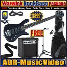 Warwick 5 String Bass Guitar Package/ Austin Bass Amp, Headphones, Tuner, Stand