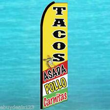TACOS ASADA POLLO CARNITAS FEATHER FLUTTER FLAG Advertising Sign Banner Swooper