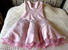 Pink party dress by NICHOLAS MILLINGTON Size 10 Embroidered scalloped trim