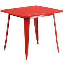 Flash Furniture ET-CT002-1-RED-GG 31.5 In. Square Red Metal Indoor-Outdoor Table
