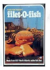 "Vintage McDONALD'S Filet-O-Fish SANDWICH 2"" x 3"" Fridge MAGNET Art Fast Food"