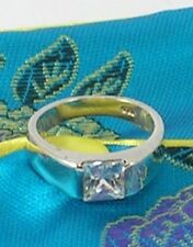Square Cut  Cubic Zirconia Sterling Silver Ring