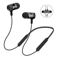 Wireless Bluetooth V5.0 Headphone Magnetic Headset Neckband Earphone Earbuds Mic