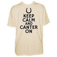 Mens Keep Calm & Canter On Tshirt - Equestrian Horse Lover Gift Shirt - Jockey