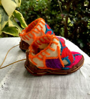 Vintage Miniature Handmade Shoe-Hand Sewn-Rubber Sole-Leather-Canvas-Embroidery