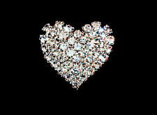 SILVER DIAMANTE Heart Button Badge 25x22mm wedding table display
