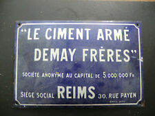 RARE PLAQUE EMAILLEE CIMENT DEMAY FRERES  JAPY 1940 .