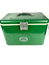 Vintage Rare Thermos Holiday Ice Chest Cooler Green Metal Mid Century Cooler