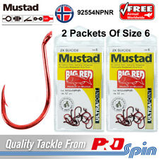 2 Packets Mustad Big Red Hooks Size 6 Chemically Sharpened 2X Strong 92554NPNR