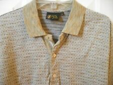 BOBBY JONES COLLECTION MEN'S POLO GOLF SHIRT MADE IN ITALY M Brown Print