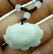 Beautiful 100% Chinese jade hand-carved the statue of lotus flower PENDANT