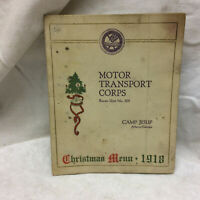 Vintage 1918 WWI Camp Jesup Christmas Menu Atlanta Georgia Motor Transport Corp