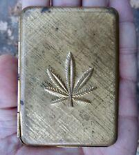 Vtg POT LEAF Cigarette CASE Joints TIN Marijuana WEED Cannabis GOLD RARE VG+