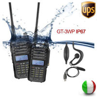 2*Baofeng GT-3WP + 1*USB Cable V/U 128CH Dual Band IP67 Waterproof Radio Emisora