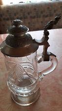Bierkrug Glas Humpen Krug  etwa 24 cm hoch -1100 Gramm schwer-Zinndeckel