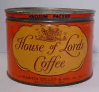 Vintage 50s HOUSE OF LORDS GRAPHIC KEYWIND COFFEE TIN 1 POUND BALTIMORE MARYLAND