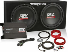 """MTX TNP212D2 12"""" 1200W Dual Car Subwoofer Box with Amplifier and Install Kit"""
